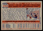 1957 Topps #250  Eddie Mathews  Back Thumbnail