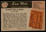 1955 Bowman #147  Sam Mele  Back Thumbnail