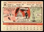 1956 Topps #68  Chuck Stobbs  Back Thumbnail