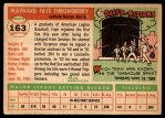 1955 Topps #163  Faye Throneberry  Back Thumbnail