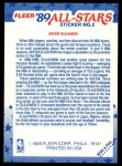 1989 Fleer Sticker #2  Akeem Olajuwon  Back Thumbnail
