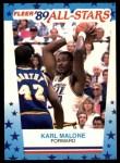 1989 Fleer Sticker #1  Karl Malone  Front Thumbnail
