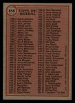 1981 Topps Traded #858 T  Checklist Back Thumbnail