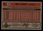 1981 Topps Traded #760 T Bill Fahey  Back Thumbnail