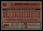 1981 Topps Traded #785 T Dennis Lamp  Back Thumbnail