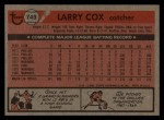 1981 Topps Traded #749 T Larry Cox  Back Thumbnail
