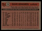 1981 Topps Traded #758 T Dave Edwards  Back Thumbnail