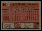 1981 Topps Traded #773 T Roy Howell  Back Thumbnail