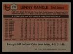 1981 Topps Traded #817 T Lenny Randle  Back Thumbnail