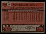 1981 Topps Traded #791 T Ron LeFlore  Back Thumbnail
