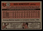 1981 Topps Traded #772 T Rick Honeycutt  Back Thumbnail