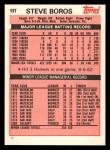 1983 Topps Traded #13 T Steve Boros  Back Thumbnail