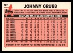 1983 Topps Traded #38 T Johnny Grubb  Back Thumbnail