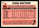 1983 Topps Traded #127 T Ed Whitson  Back Thumbnail