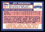 1984 Topps Traded #101  Jeff Robinson  Back Thumbnail
