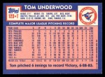 1984 Topps Traded #123  Tom Underwood  Back Thumbnail