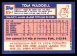 1984 Topps Traded #125  Tom Waddell  Back Thumbnail