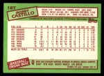 1985 Topps Traded #18 T Bobby Castillo  Back Thumbnail