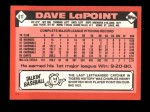 1986 Topps Traded #61 T Dave LaPoint  Back Thumbnail