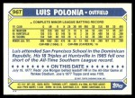 1987 Topps Traded #96 T Luis Polonia  Back Thumbnail