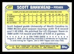 1987 Topps Traded #2 T Scott Bankhead  Back Thumbnail