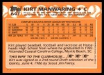 1988 Topps Traded #64 T Kirt Manwaring  Back Thumbnail