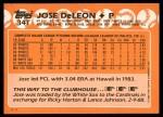 1988 Topps Traded #34 T Jose DeLeon  Back Thumbnail