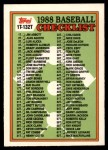 1988 Topps Traded #132 T  Checklist 1T - 132T Front Thumbnail