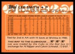 1988 Topps Traded #110 T Lee Smith  Back Thumbnail
