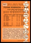 1988 Topps Traded #96 T Frank Robinson  Back Thumbnail