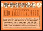 1988 Topps Traded #95 T  -  Doug Robbins Team USA Back Thumbnail