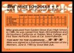 1988 Topps Traded #105 T Mike Schooler  Back Thumbnail