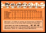 1988 Topps Traded #117 T Bill Swift  Back Thumbnail