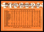 1988 Topps Traded #63 T Scotti Madison  Back Thumbnail