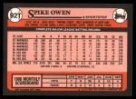 1989 Topps Traded #92 T Spike Owen  Back Thumbnail