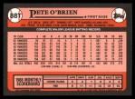1989 Topps Traded #88 T Pete O'Brien  Back Thumbnail