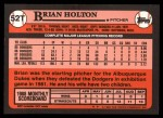 1989 Topps Traded #52 T Brian Holton  Back Thumbnail