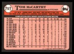 1989 Topps Traded #75 T Tom McCarthy  Back Thumbnail