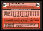 1989 Topps Traded #32 T Junior Felix  Back Thumbnail