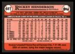 1989 Topps Traded #48 T Rickey Henderson  Back Thumbnail