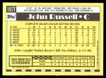 1990 Topps Traded #107 T John Russell  Back Thumbnail