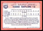 1991 Topps Traded #116 T  -  Todd Taylor Team USA Back Thumbnail