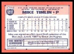 1991 Topps Traded #121 T Mike Timlin  Back Thumbnail