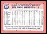 1991 Topps Traded #81 T Orlando Merced  Back Thumbnail