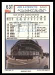 1992 Topps Traded #63 T Jim LeFebvre  Back Thumbnail