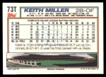 1992 Topps Traded #73 T Keith Miller  Back Thumbnail