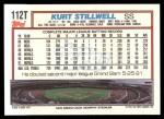 1992 Topps Traded #112 T Kurt Stillwell  Back Thumbnail