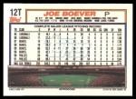 1992 Topps Traded #12 T Joe Boever  Back Thumbnail