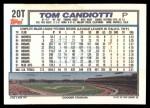 1992 Topps Traded #20 T Tom Candiotti  Back Thumbnail