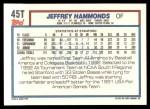 1992 Topps Traded #45 T  -  Jeffrey Hammonds Team USA Back Thumbnail